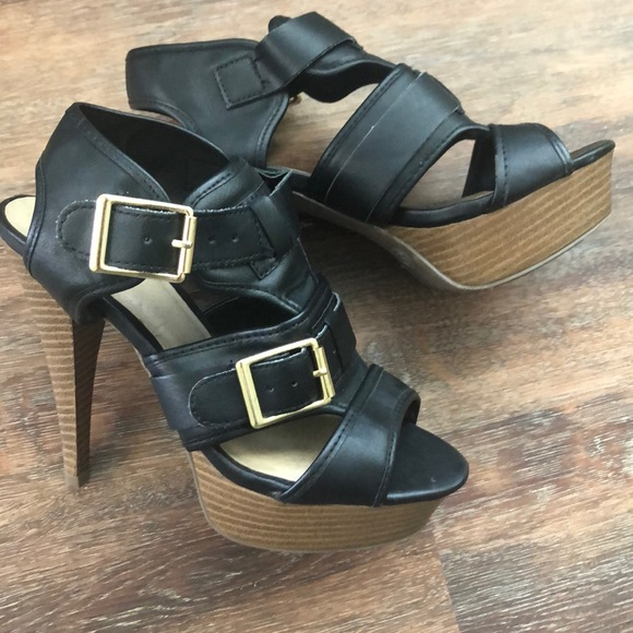 Mossimo Supply Co. Shoes - Faux Leather Heels with Gold Buckles